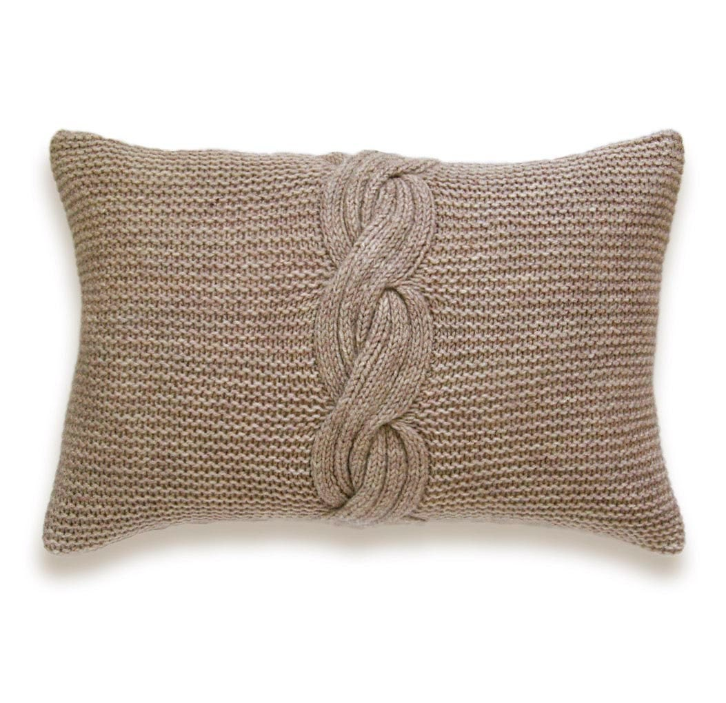 Cable Knit Pillow Cover In Mocha Beige 12 x 18 inch Garter Stitch Wool Natural Linen - DelindaBoutique
