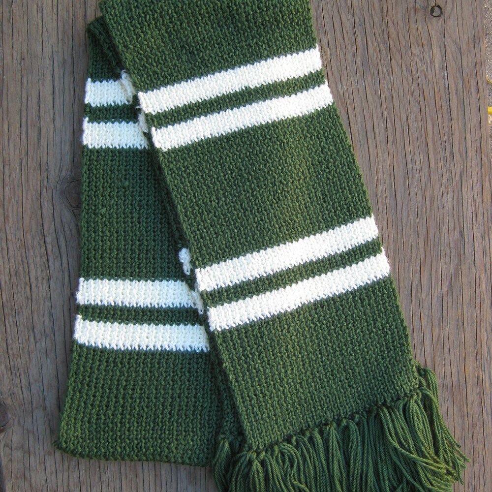 Dark green and silver / white striped knit scarf by knitsplus