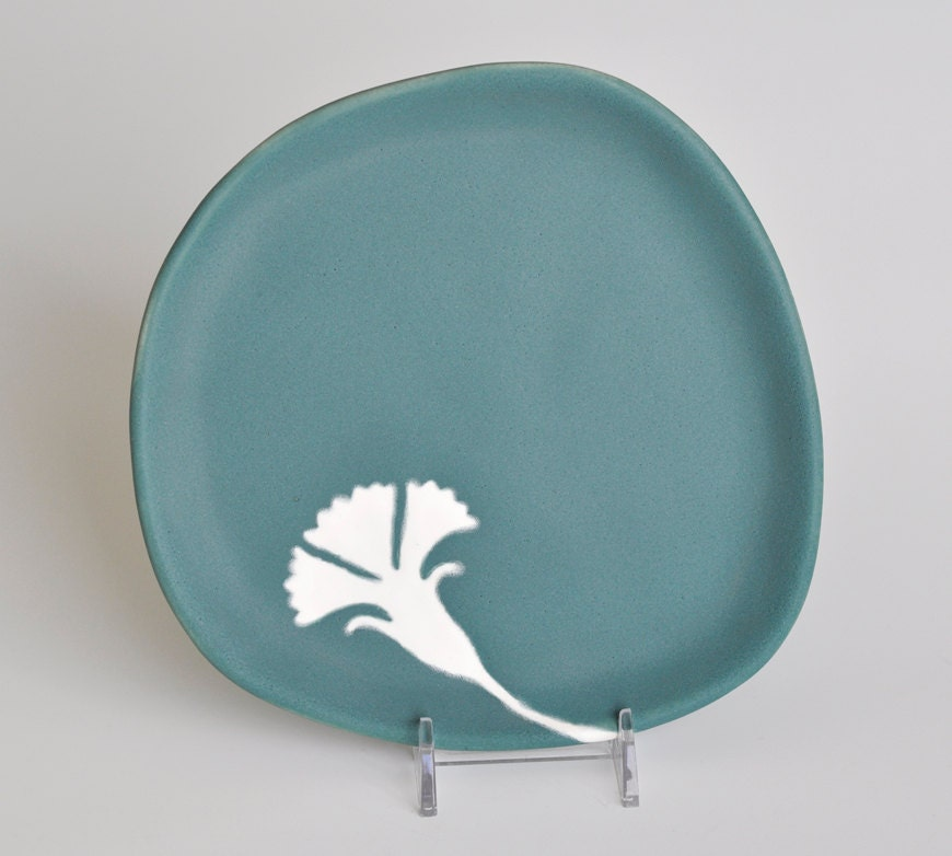 ceramic serving plate - ginkgo leaf in blue green matte - kitchen decor - hopejohnson
