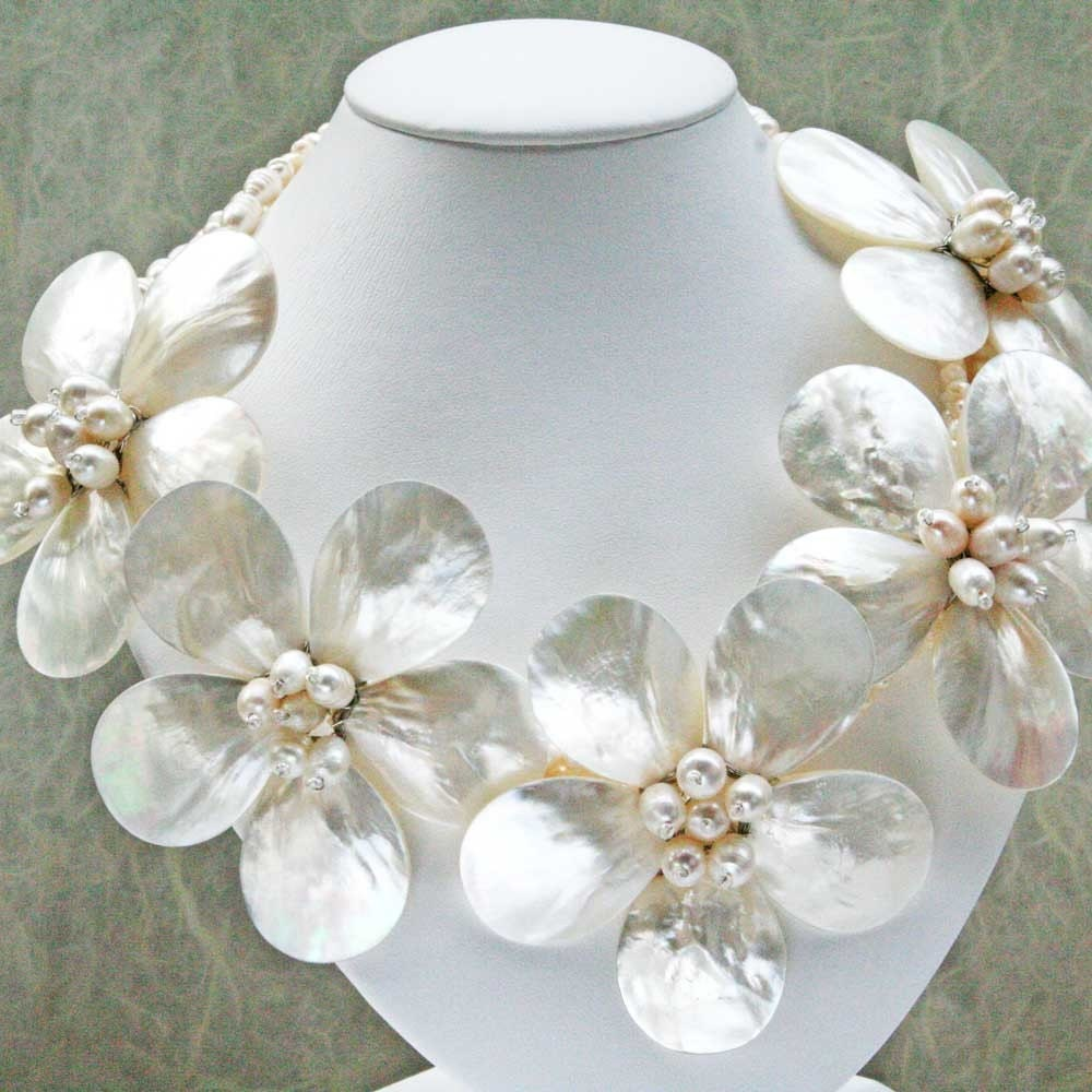 Necklace, Pearl Flowers