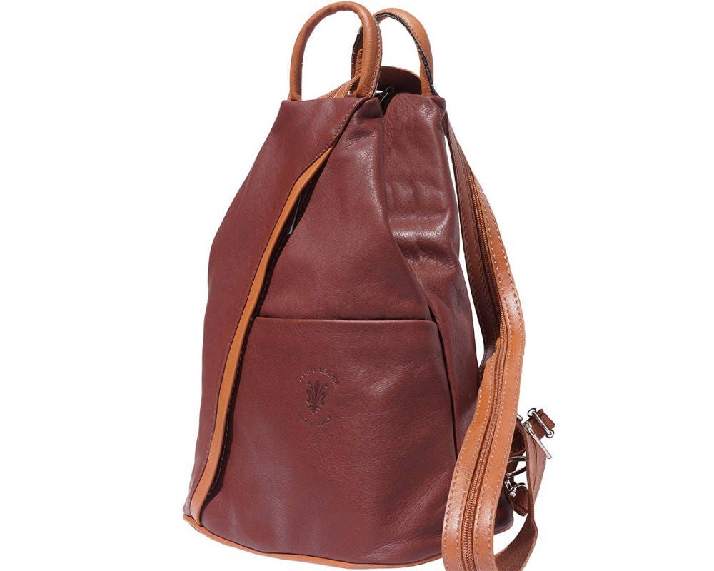 Italian Leather Backpack Shoulder Bag Handcrafted In Florence Italy in Brown  Tan 2061