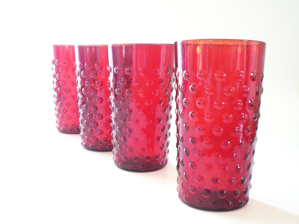 Ruby Red Glassware, Vintage Red Glasses, Anchor Hocking Red Hobnail Drinking Glass Set