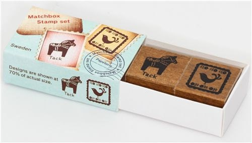 Cute Vintage Style Matchbox Wooden Rubber Stamp Set - Horse and Bird