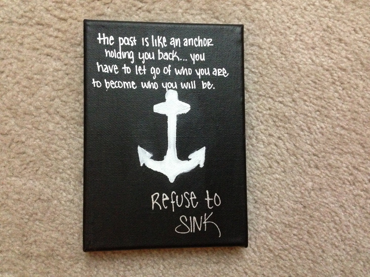 anchor canvas with inspirational quote by fromzaylahsnursery