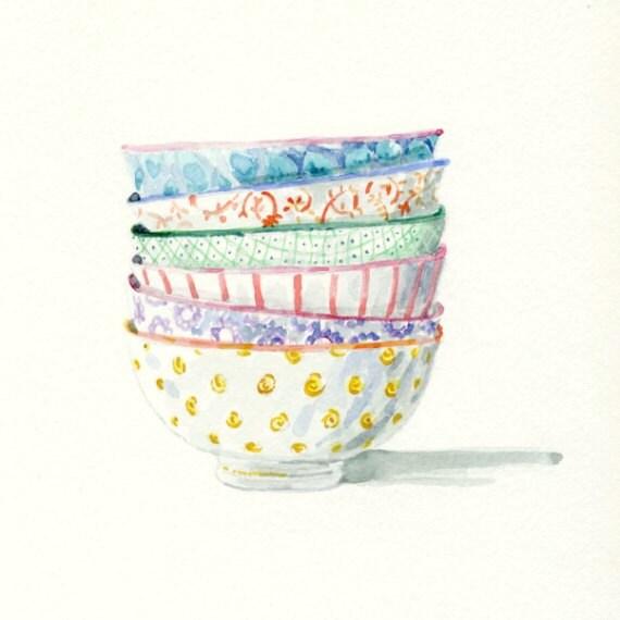 Art Print of Original Watercolor Painting -- patterned Bowls - FloraArtPrintShop