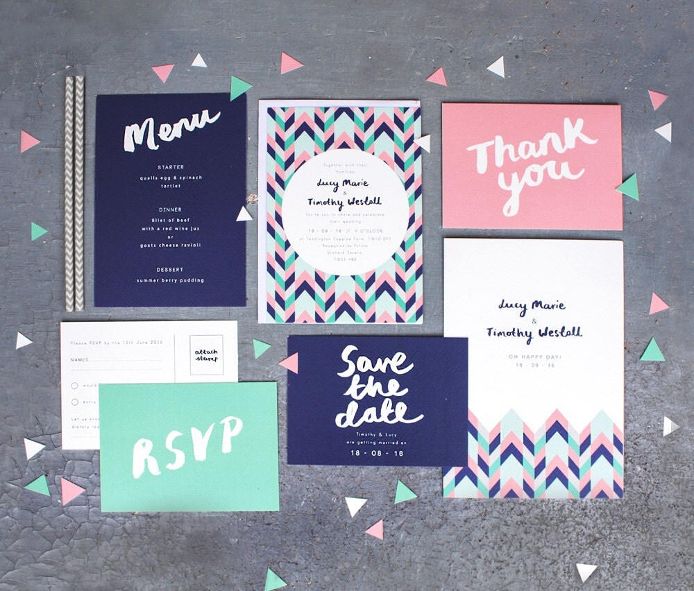 Printed Wedding Stationery Set Geometric Love