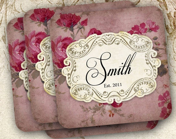 coasters with aged rose wallpaper background for holiday decorating