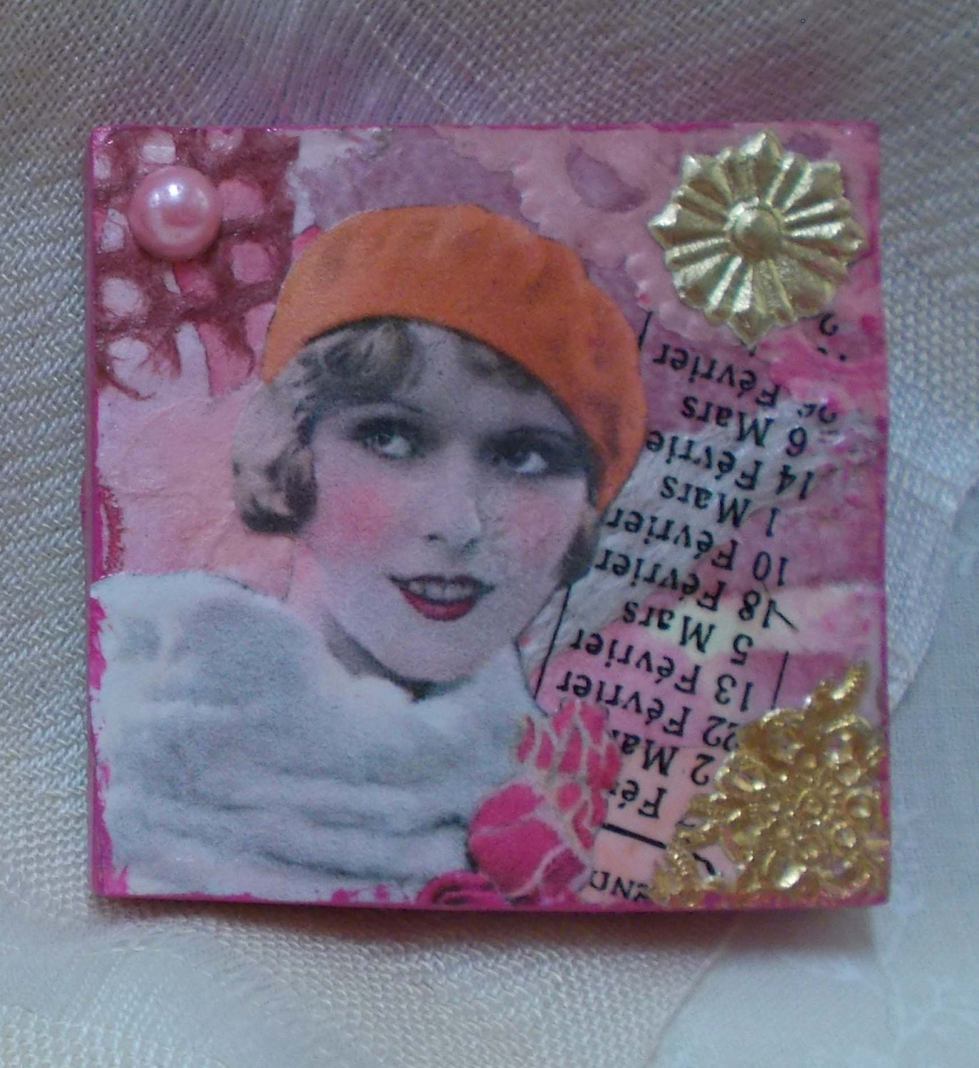 Funny Fridge Magnet With 1920s Red Hat Girl - Mixed Media Locker Magnet --  She's Got Her Hat On - rhodyart