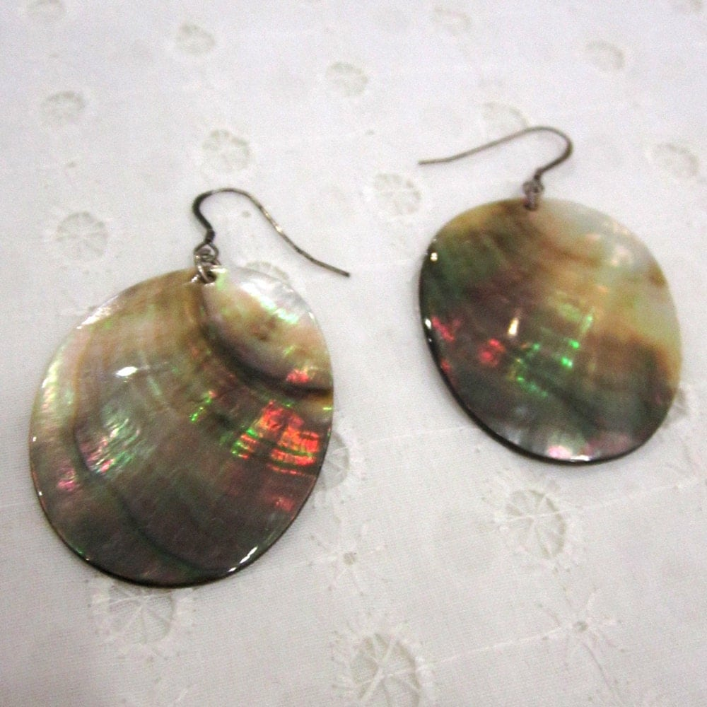 Venus On The Half Shell Earrings Abalone Ovals On By Beqi