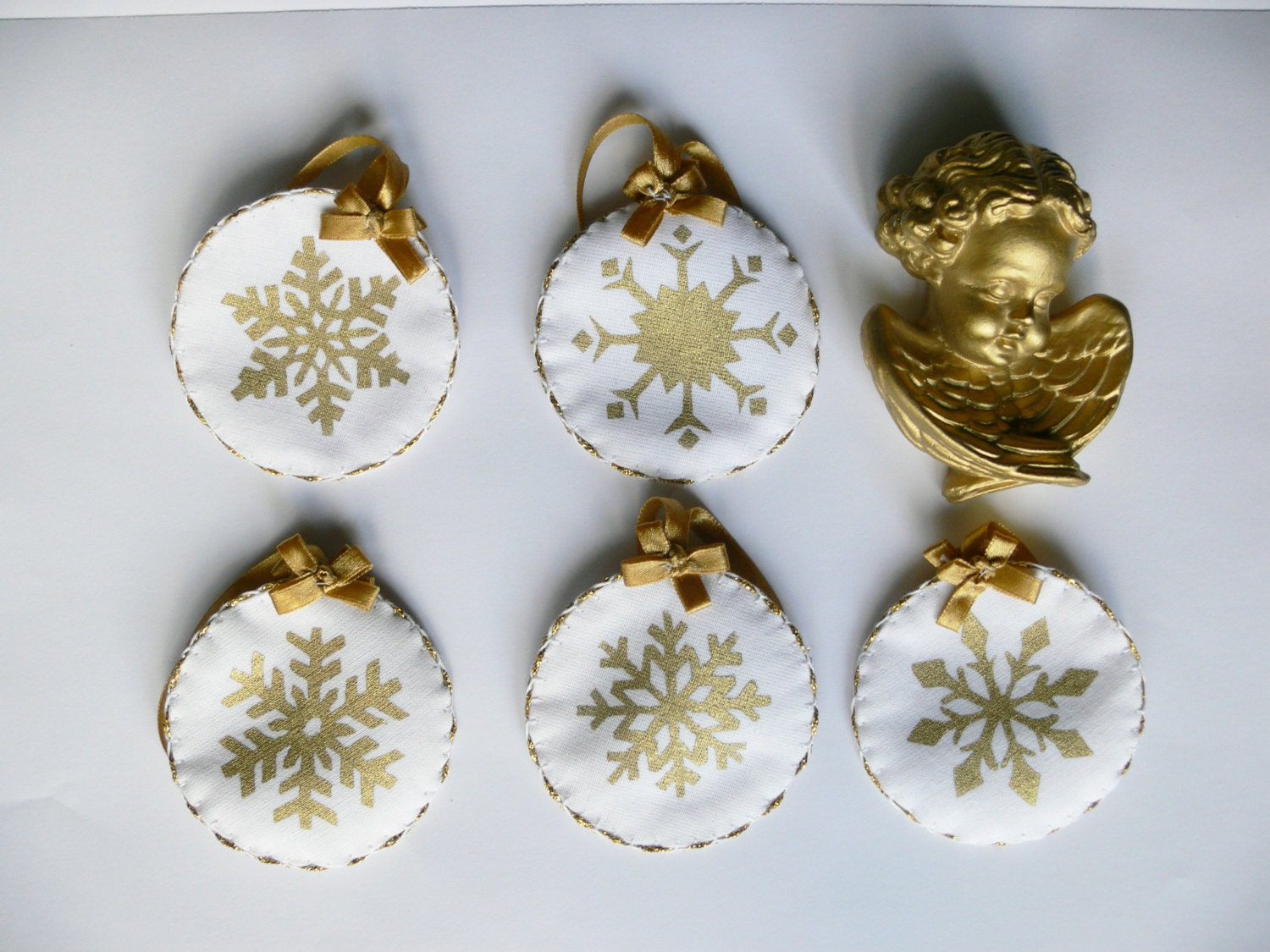 Set of Six  Fabric Christmas Ornaments, white fabric with gold snowflakes - HSHSTUDIO