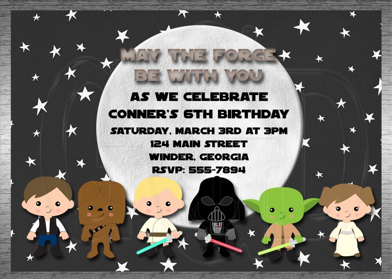 Galaxy Star Wars Invitation Inspired Boy or by graciegirldesigns77