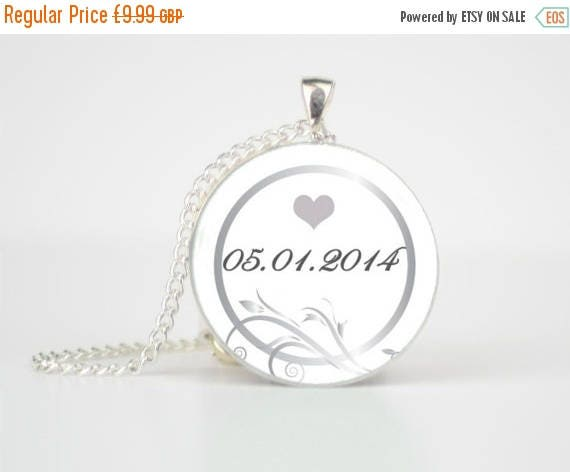 ON SALE  Bridal Present  Wedding gift  Date Necklace  Personalised Gift  Custom Necklace  Wedding Jewellery  Personalised Pendant  B