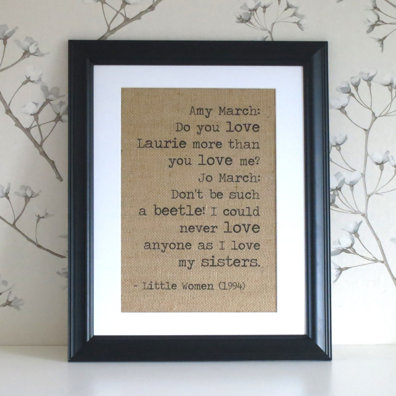 Personalised Burlap Wall Art Love Quote by