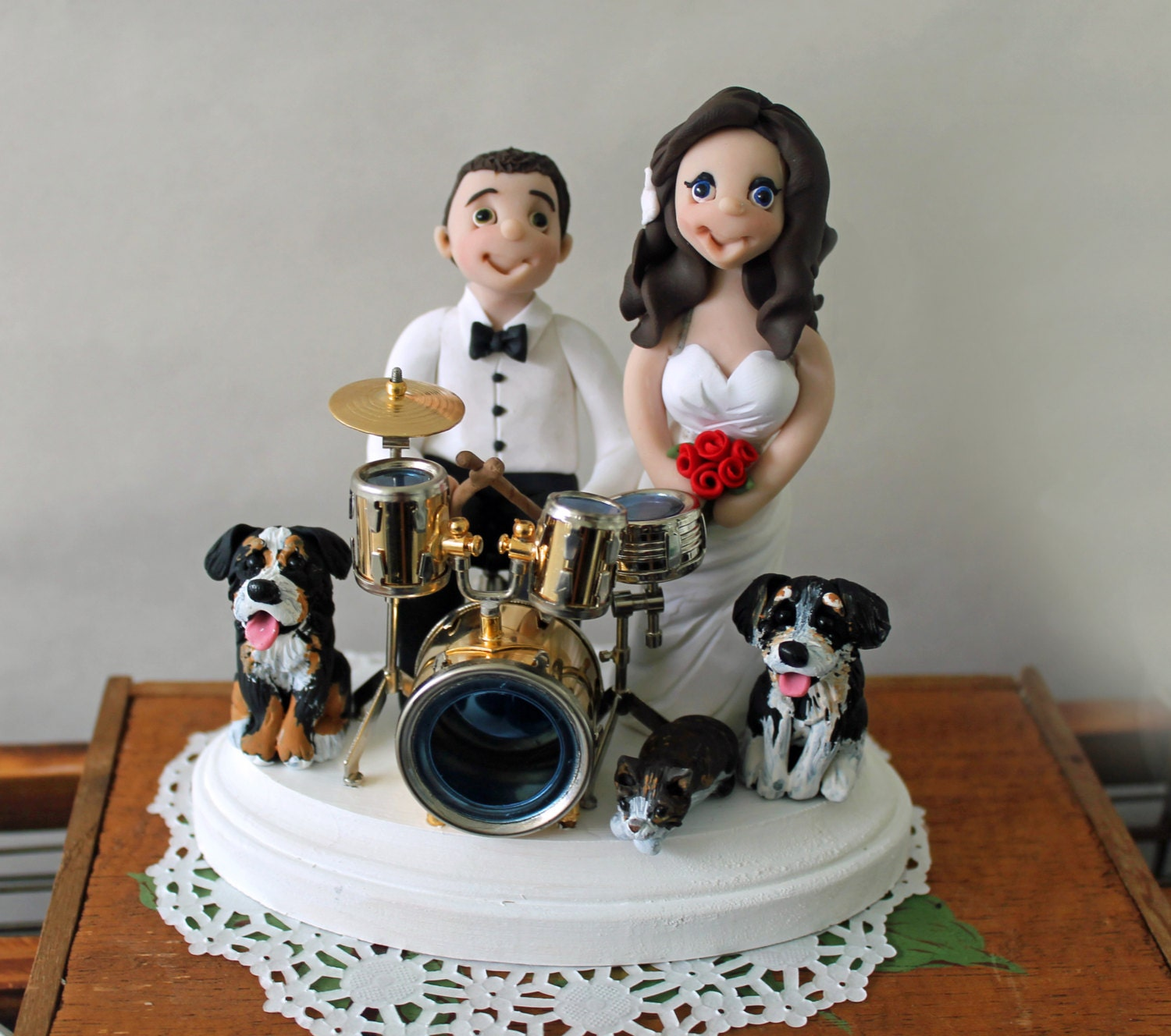 Personalized Drumming Wedding Cake Topper by CherryRedToppers