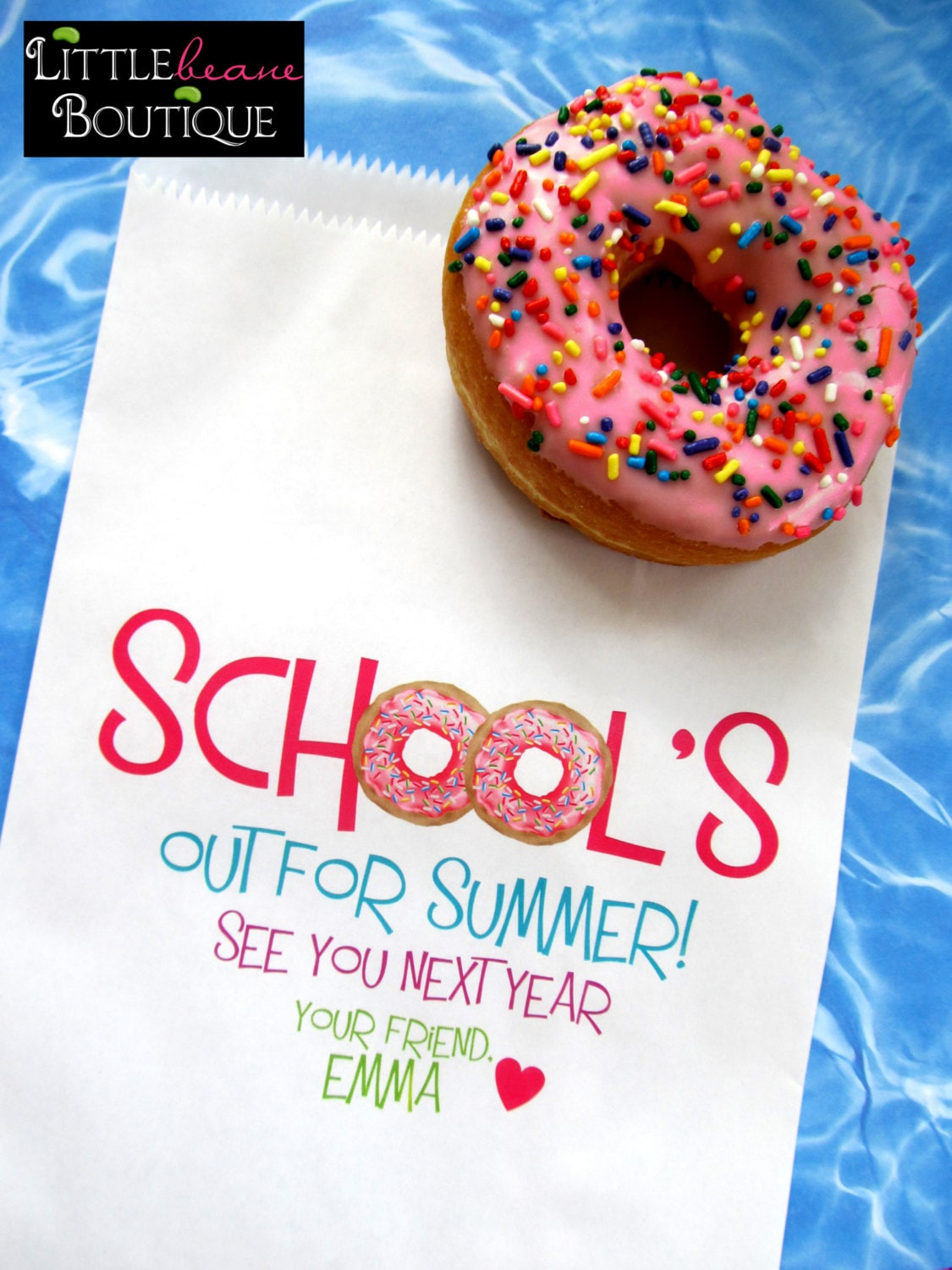 Wedding Favor Donut Bags : Donut bags Schools Out Donut party Favor by LittlebeaneBoutique