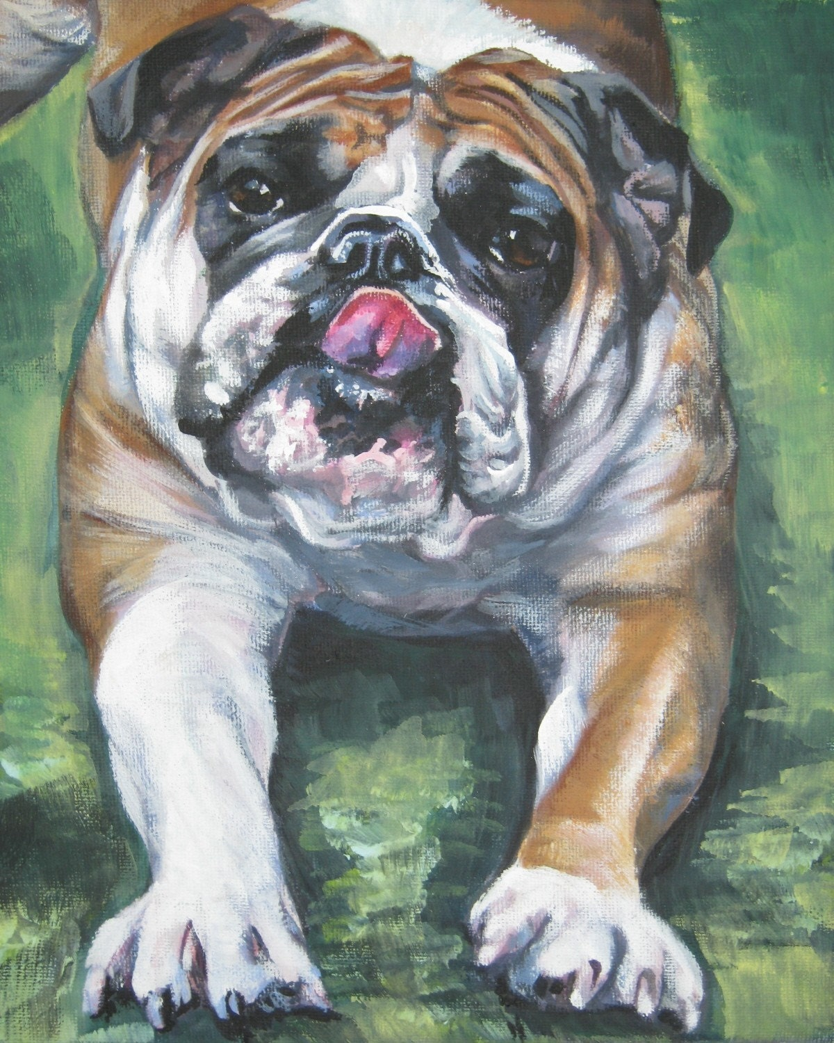 English Bulldog art CANVAS print of LA Shepard by TheDogLover