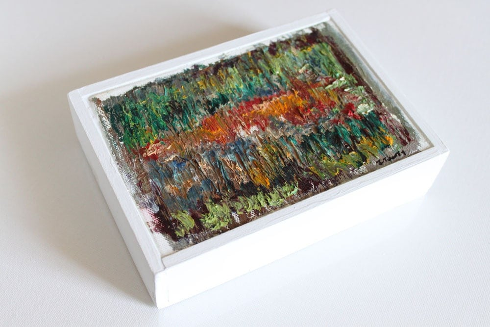 Colorful Modern Abstract Art Original Painting . Bright Red, Garnet, Mint Green and Blue Textured Small Framed Painting - JTWENTY