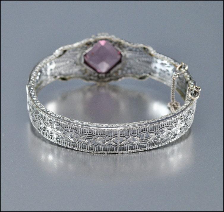 art deco bracelet bangle silver purple glass filigree vintage 1920s jewelry
