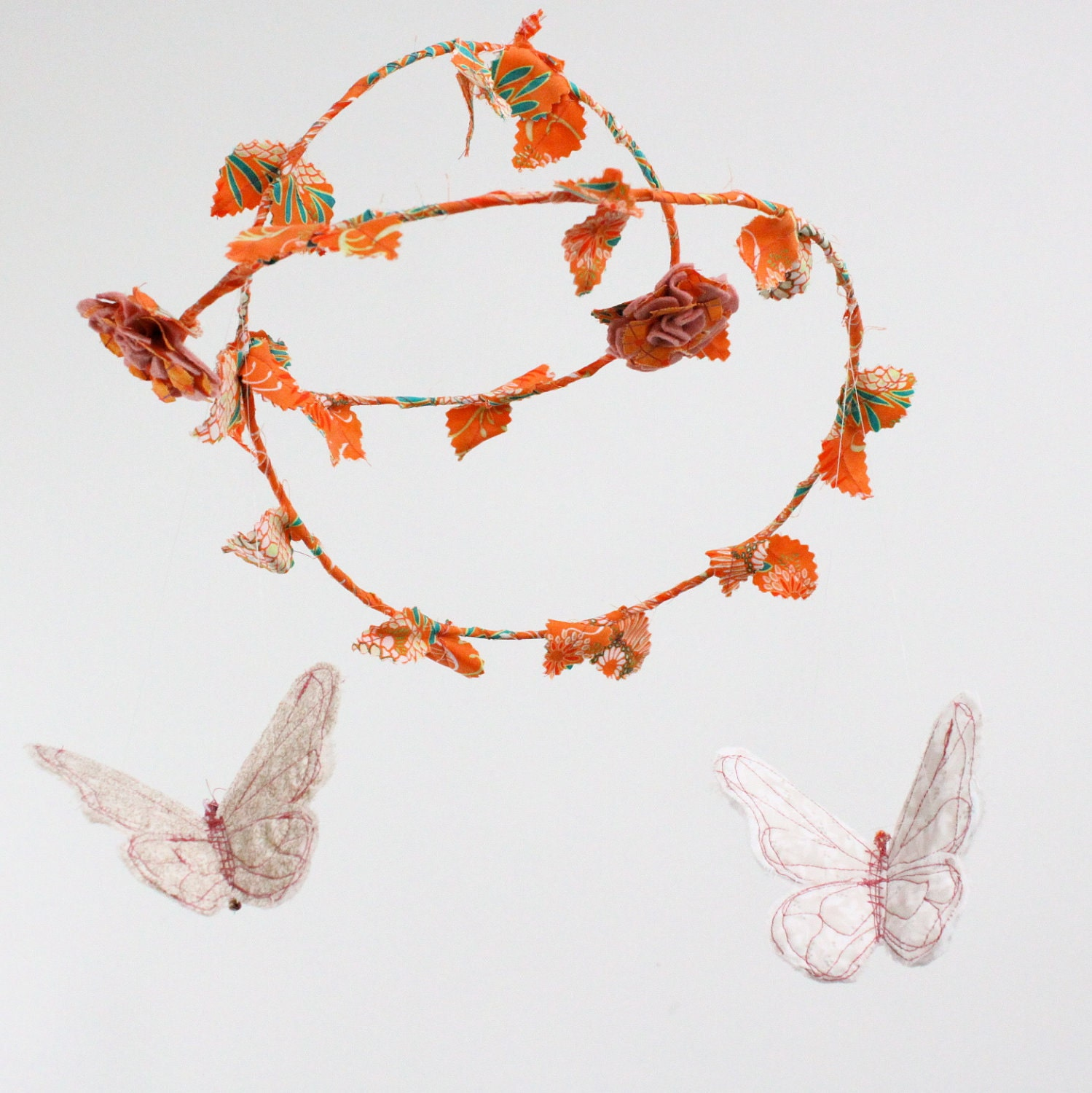 Butterfly Mobile - ballet in the garden - fabric in clementine orange, mango, cream, white, gold, dusty rose pink, and a touch of green