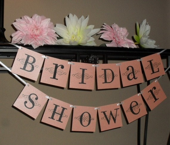 Bridal Shower banner sign - Pink, black, and white or custom colors