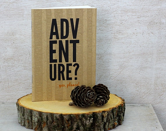 "Rustic handmade notebook that says ""Adventure?"" from Etsy"