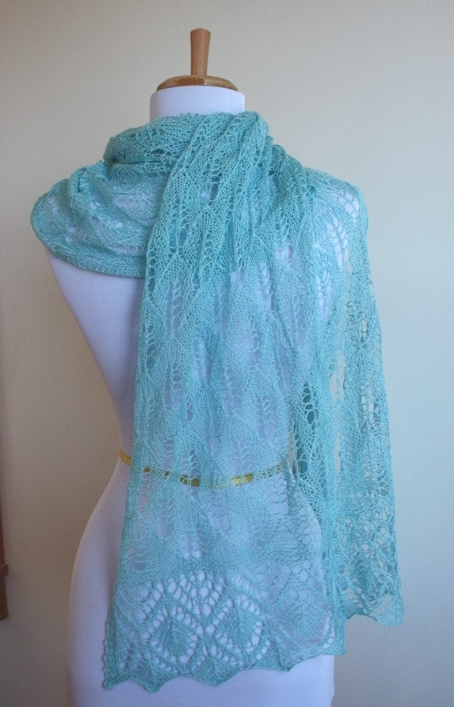 Knitting Patterns For Lace Stoles : Blue Lace Knitted Stole Estonian Lace Pattern by AllKnittedLace