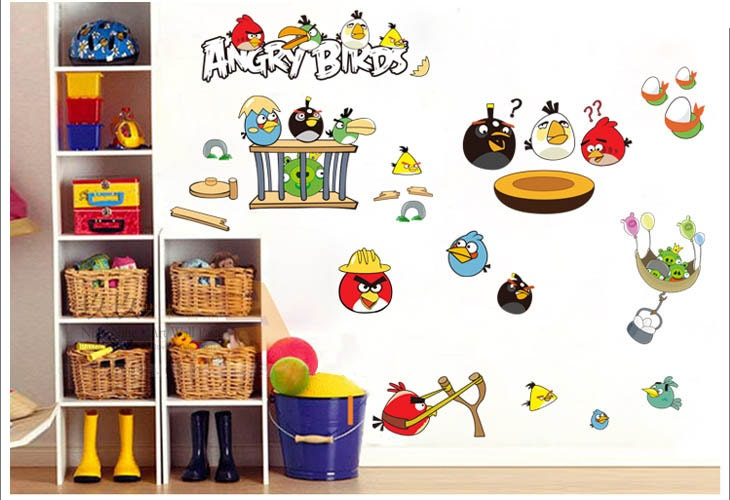 Items similar to angry birds wall decal baby bedroom art for Angry birds mural