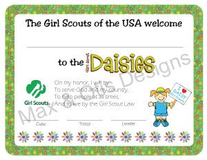 girl scout daisy investiture certificate free printable | just b.CAUSE