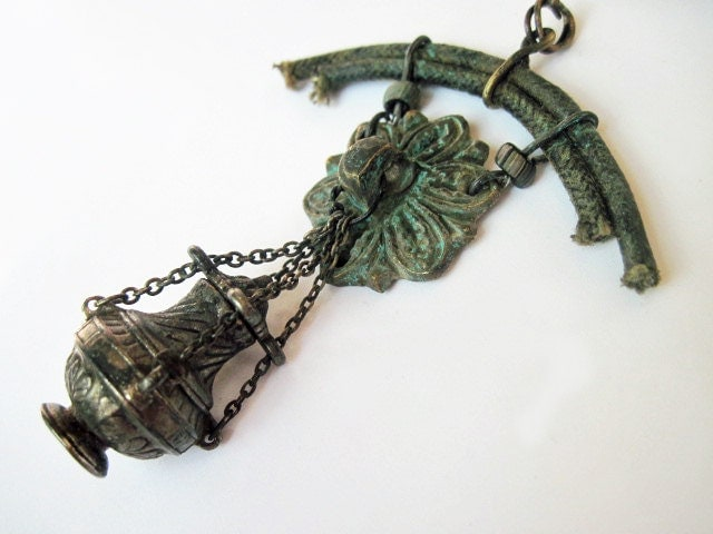 Behind the Veil. Assemblage Pendant with Vial and Verdigris.