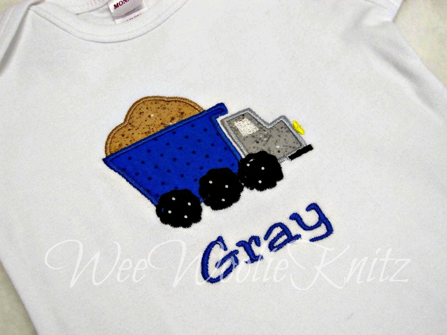 Boys Personalized Dumptruck T shirt Onesie Appliqued Truck Boutique Style Birthday