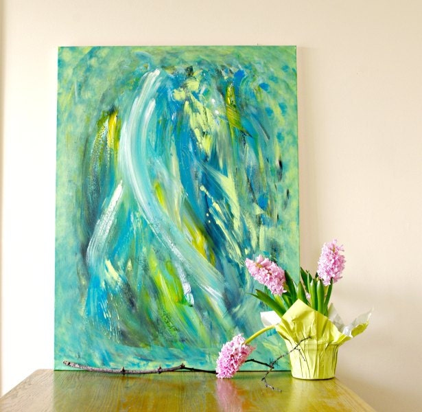 large abstract wall art blue green modern abstract by. Black Bedroom Furniture Sets. Home Design Ideas