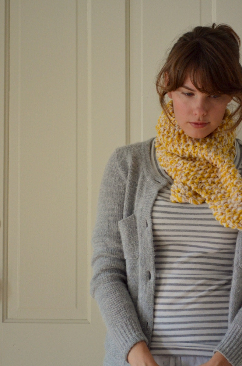 Knit Ascot Cowl -- hand knit - LetsBacktrack