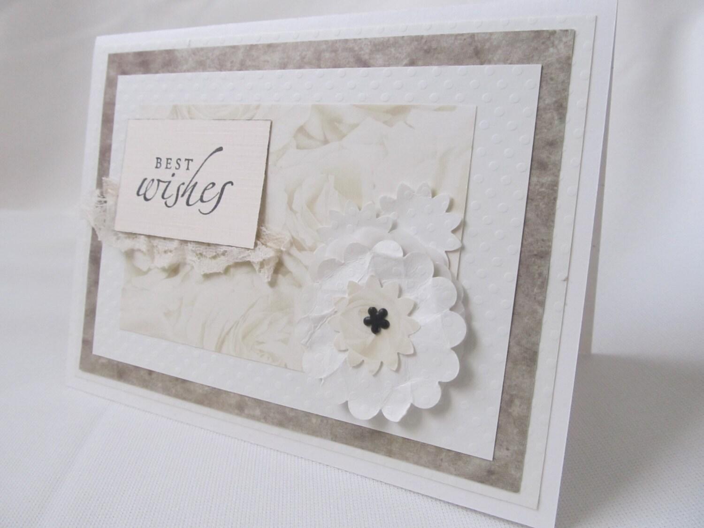 Handmade Card - Hand Stamped Card - Wedding Card - Best Wishes Card - Ivory Card - Elegant Wedding Card - White Flower Card - White Wedding - PrettyByrdDesigns
