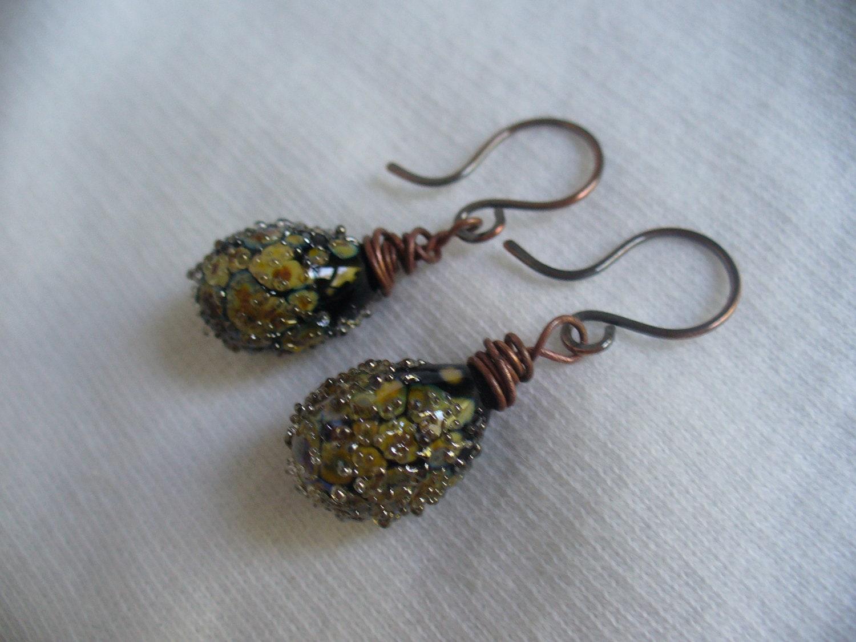 Black Raku Teardrop Sparkle Lampwork Earrings