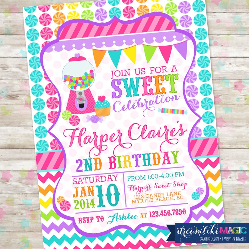 Candyland Sweet Celebration Birthday Invitation Candy Invite with ...: catchmyparty.com/vendors/product/candyland-sweet-celebration...