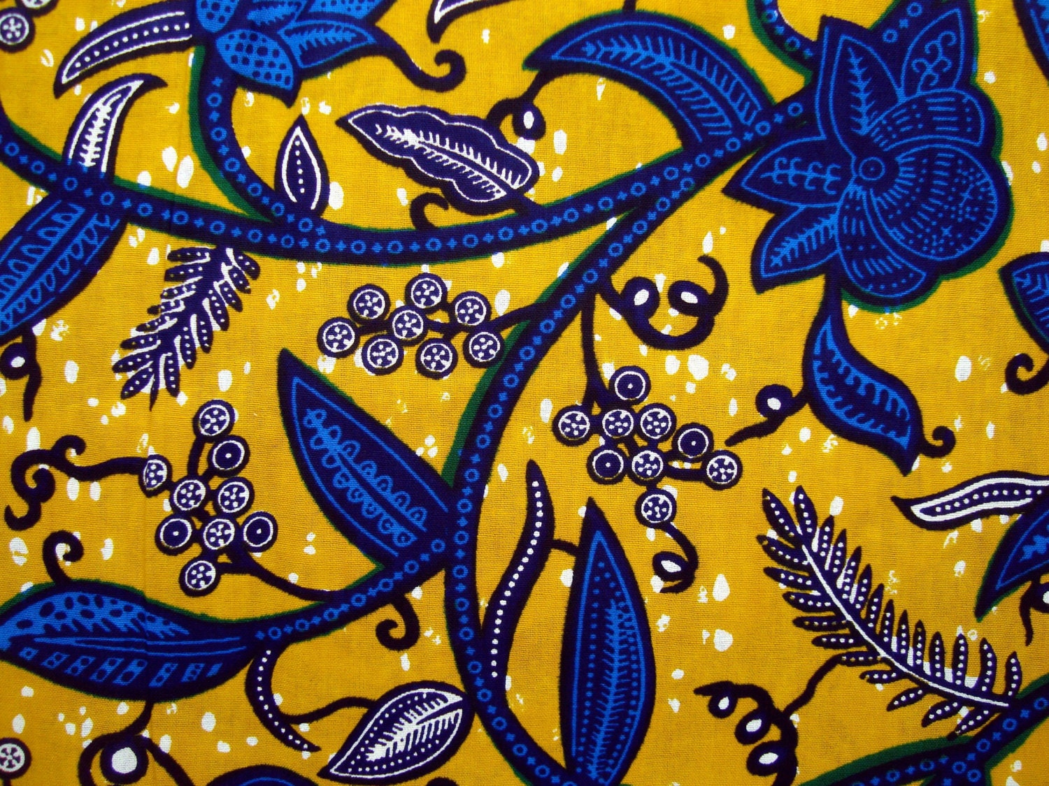 Jacobean Yellow And Blue African Wax Print Fabric By