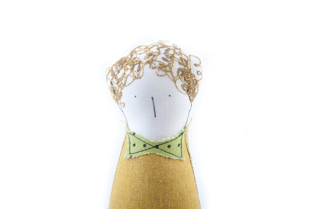 Soft sculpture - Curly blond , boy doll in mustard yellow dotted green bow blouse and beige linen striped pants , eco handmade doll - TIMOHANDMADE