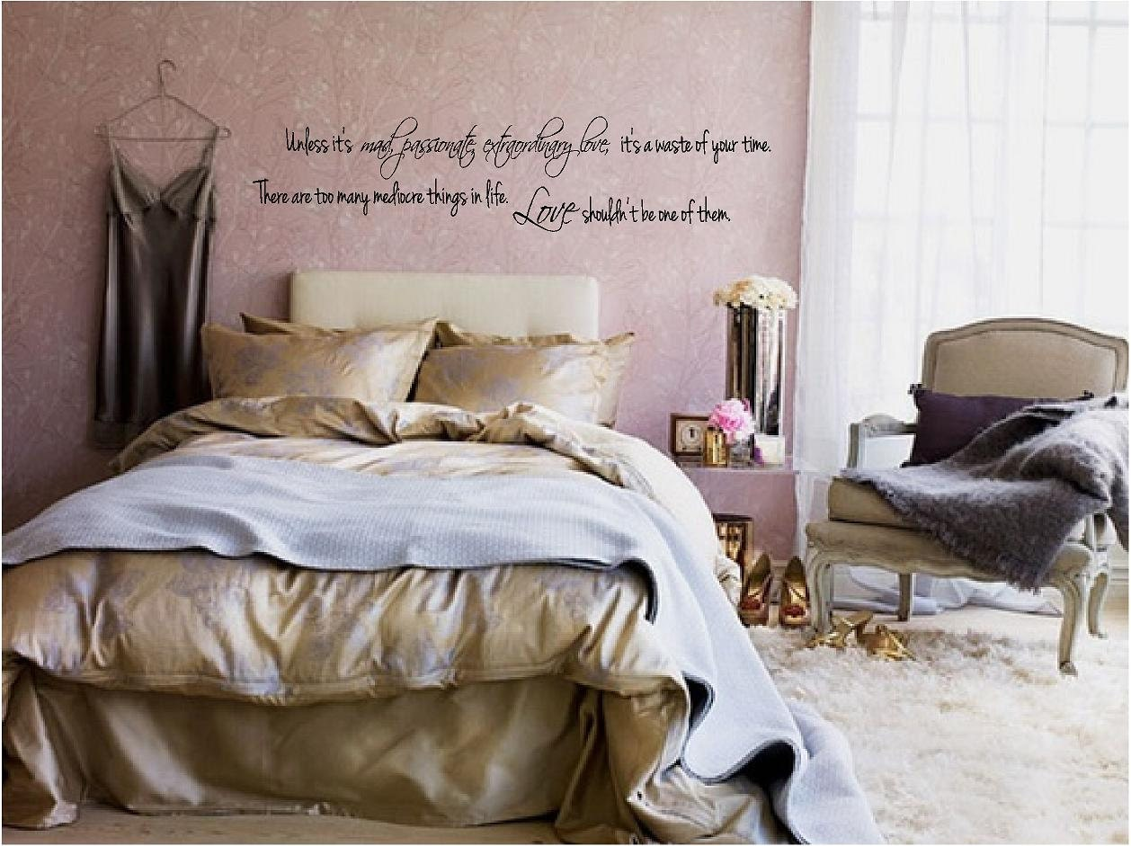 Mad passionate extraordinary love vinyl wall by for Dusty rose bedroom ideas
