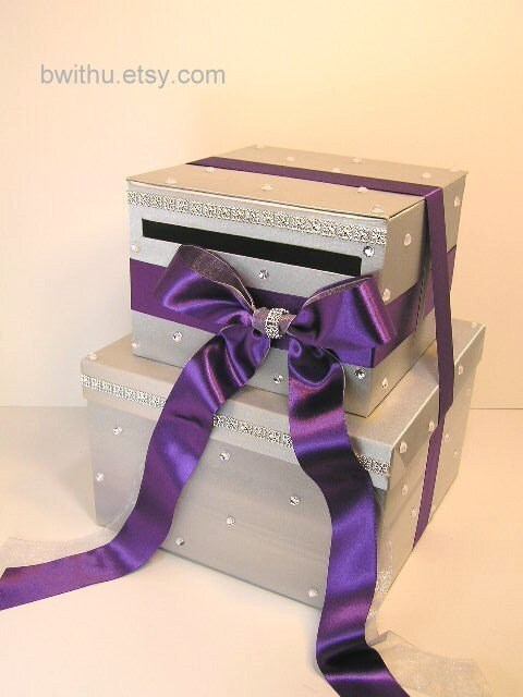 Silver and Purple Wedding Card Box Gift Card Box Money Box Holder ...