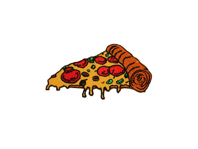 Pizza Iron On Patch Embroidery Sewing DIY Customise Denim Cotton