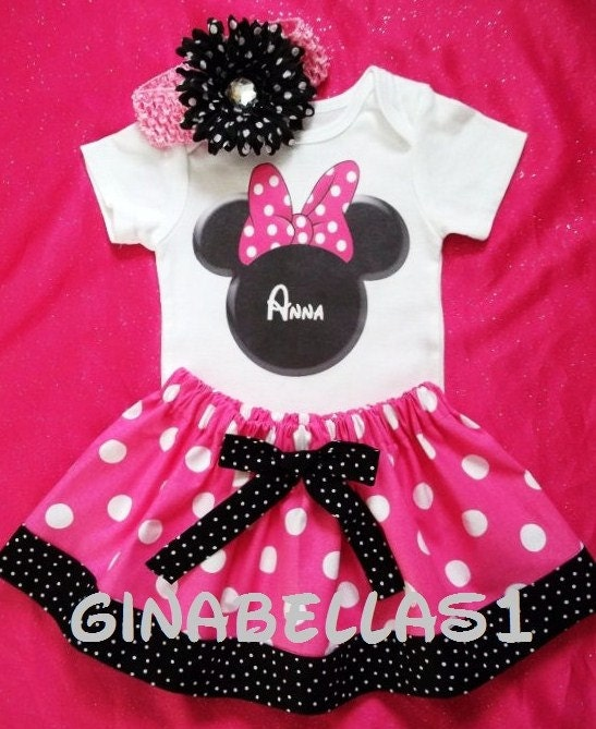 Minnie Mouse Outfit PINK Dress First Birthday By GinaBellas1