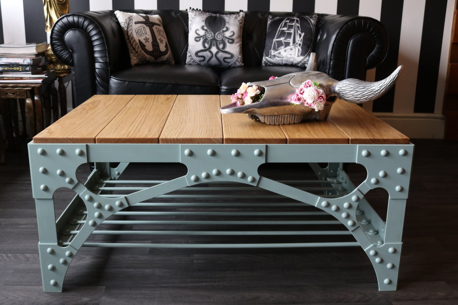 Industrial Coffee Table  Deluxe industrial steampunk style riveted bridge coffee table  The Harbour Bridge Coffee Table