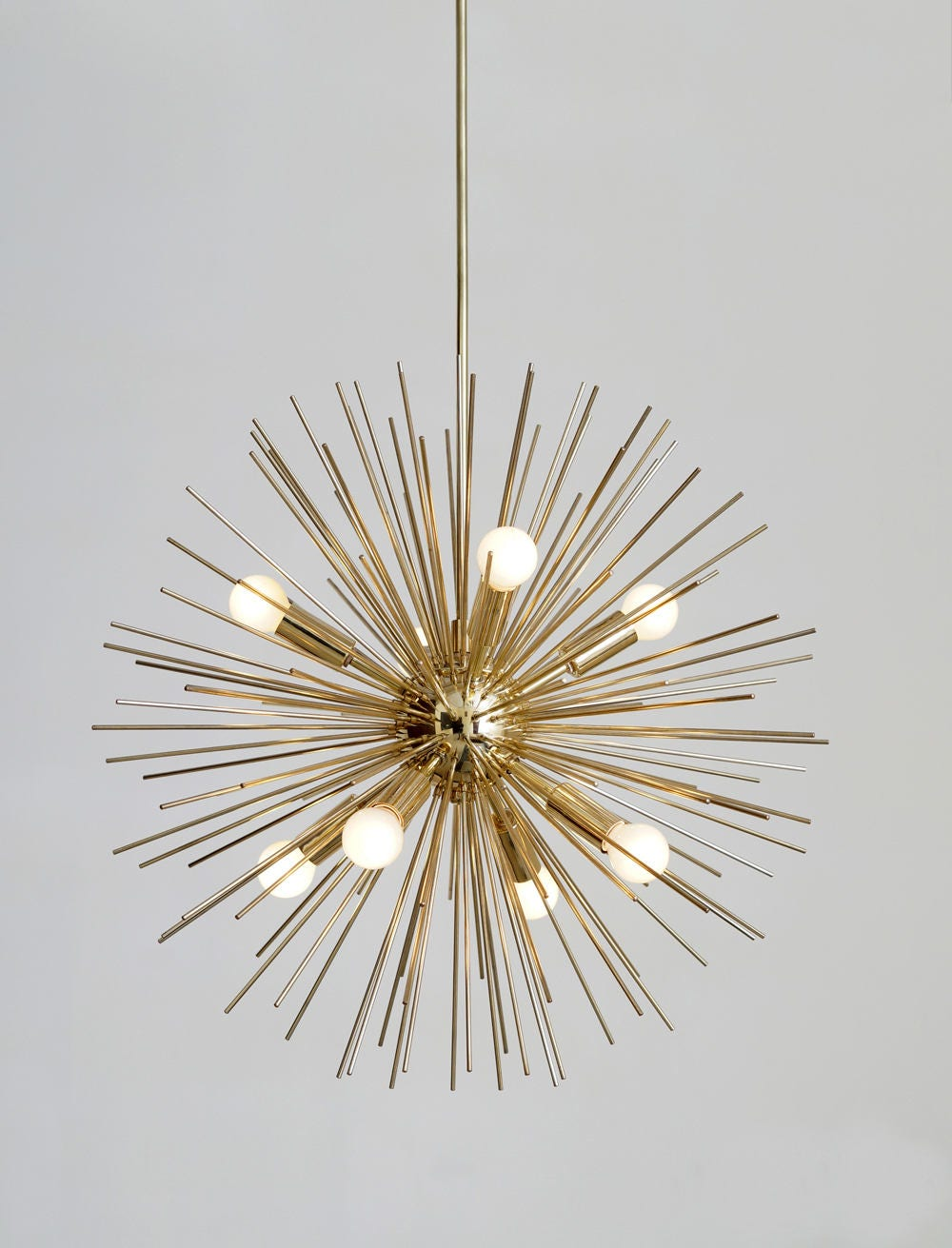 MidCentury Modern Large Round Starburst Chandelier Polished Brass Light Pendant 8 bulb 22diam
