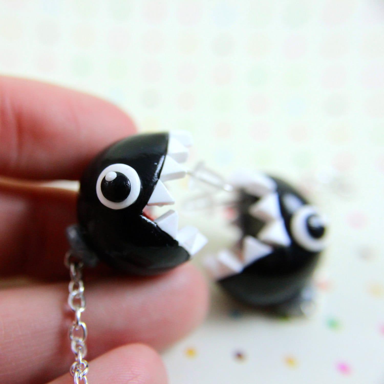 mario inspired chain chomp earrings by trenonights on etsy