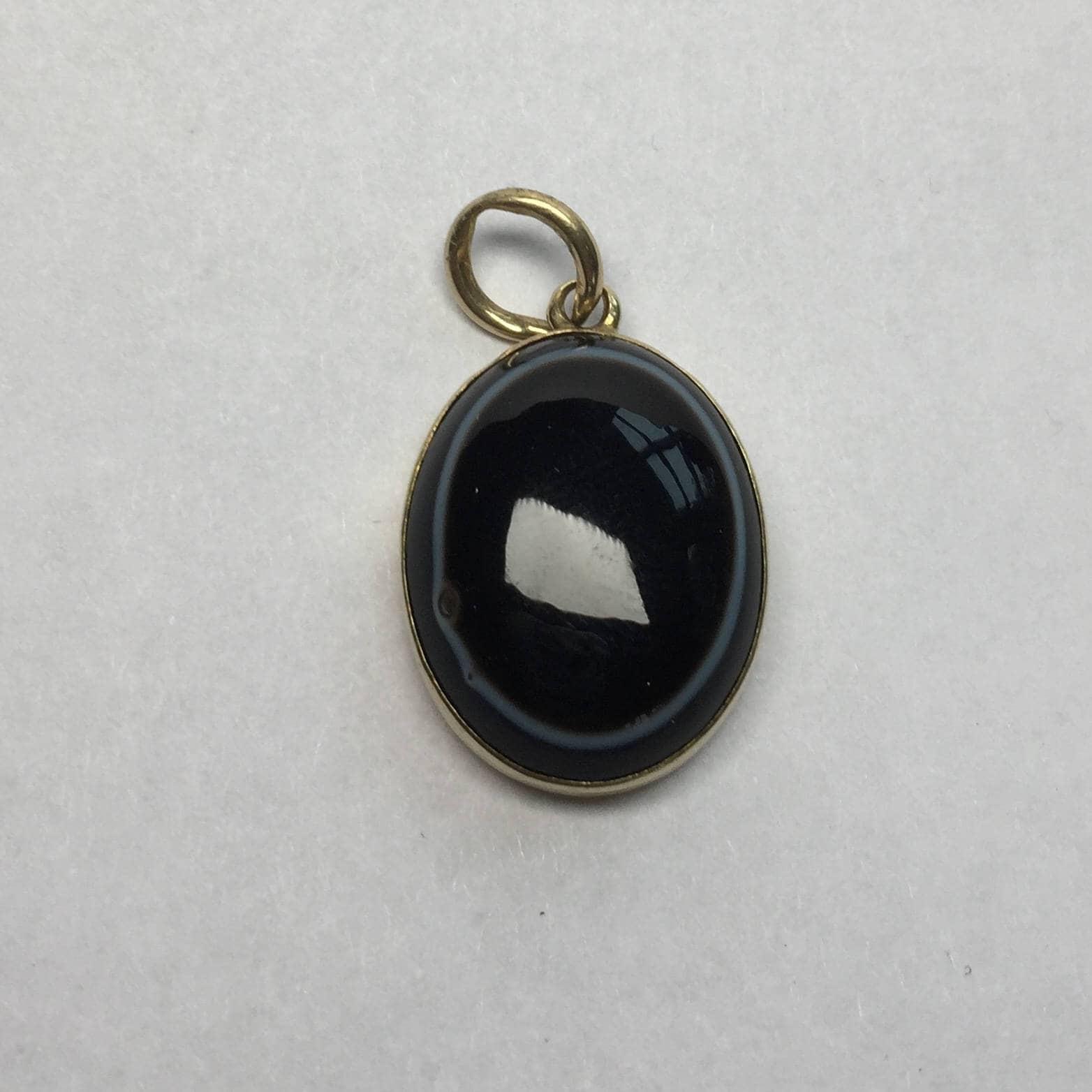 Victorian Black Agate gold locket