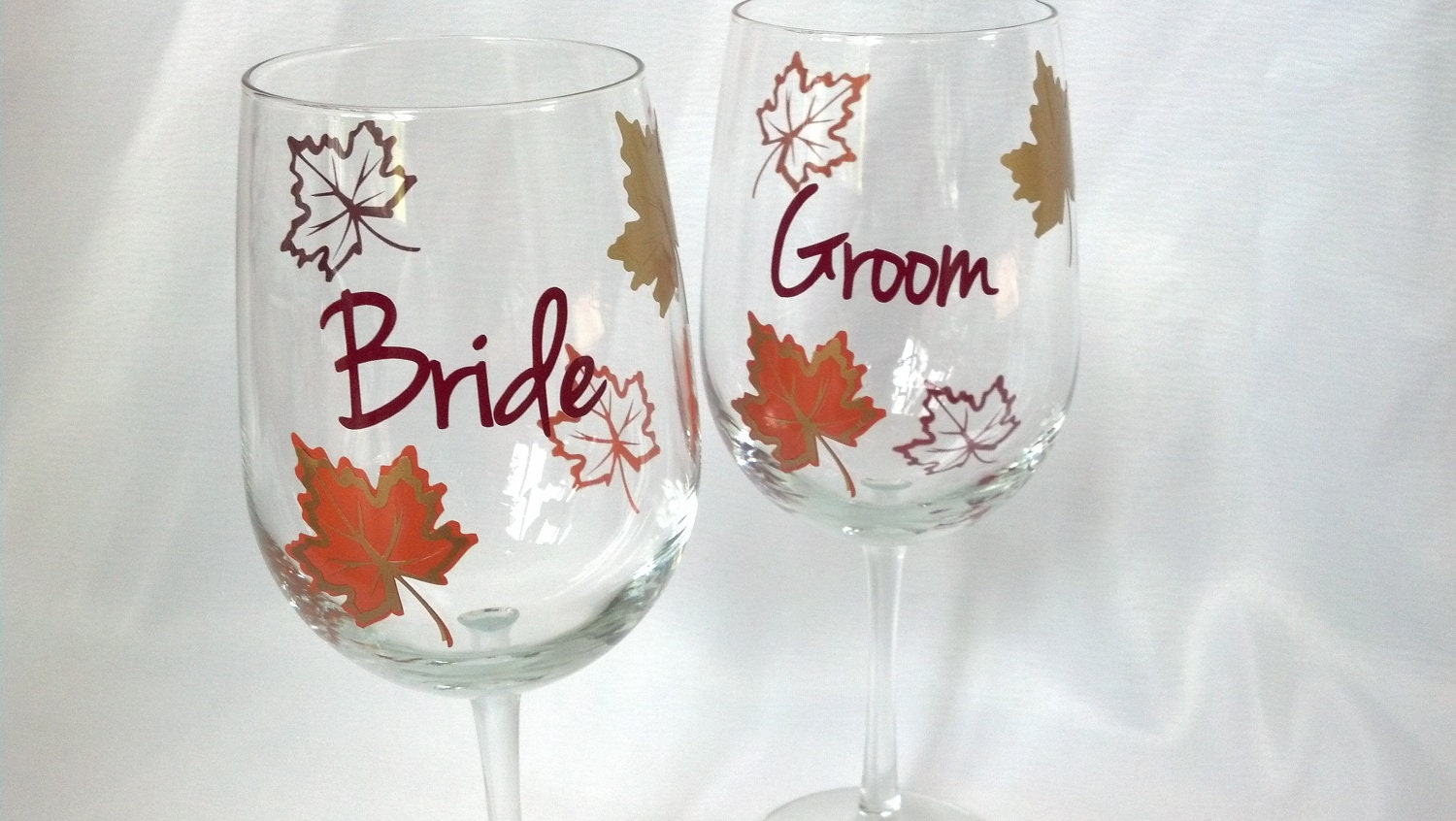 bride and groom set of 2 fall wine glass gold by
