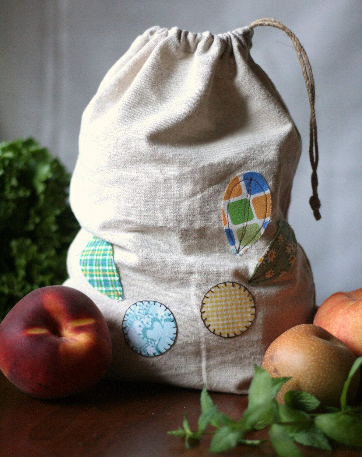 cotton produce/storage bag in dot flowers