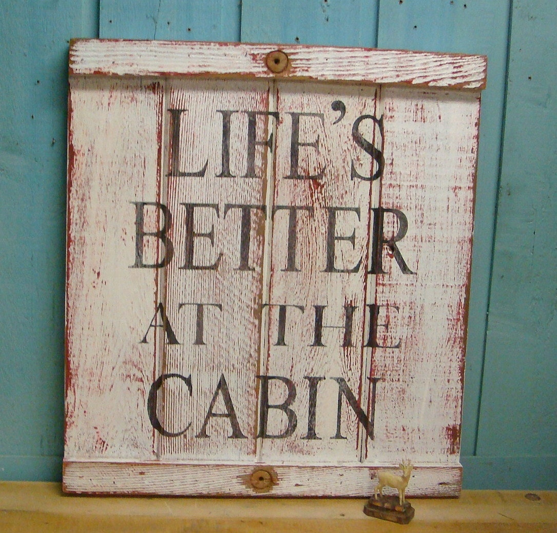 Cabin cottage sign lake beach house decor life 39 s by for Beach cabin decor