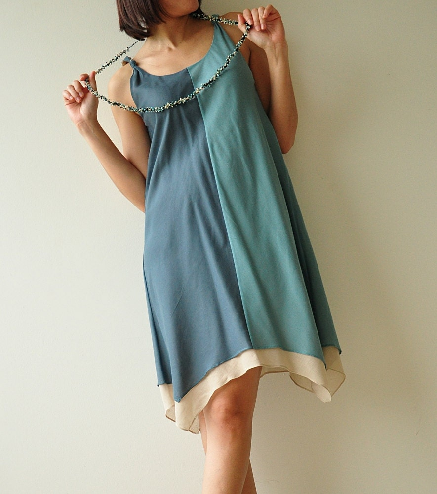 Two tone part II.... Cream-Blue Cotton Dress - aftershowershop