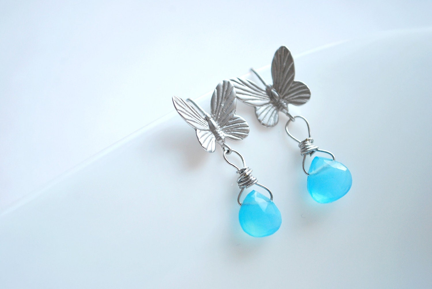 Little blue - delicate butterfly earrings with a dangling chalcedony drop - romantic gemstone earrings perfect for summer or spring - silver